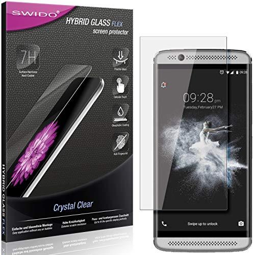 SWIDO Panzerglas Schutzfolie kompatibel mit ZTE Axon 7 Mini Bildschirmschutz-Folie & Glas = biegsames HYBRIDGLAS, splitterfrei, Anti-Fingerprint KLAR - HD-Clear