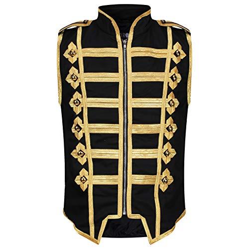 Ro Rox Men's Marching Band Vest Drummer Sleeveless Parade Jacket - Black & Gold (L)