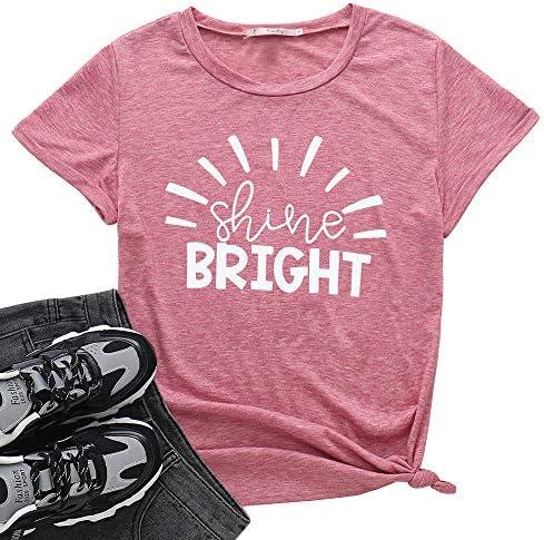 Fanfly Shine Bright Teacher Shirts Women Letter Print Tee Teacher Motivation Summer Tunic Tops product image