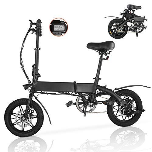 Magic Vida Bicicleta Eléctrica Plegable Negro 20' - Motor 250W - Distancia 35KM - Velocidad Máx 25KM/H - Batería 7.5Ah 36V - 15.5KG - Pantalla LCD - LED - MTB para Niños Adultos