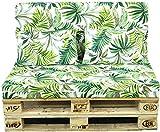 TIENDA EURASIA® Cojines para Palets - 8 Estampados Tropicales - Conjunto 4 Piezas - Funda de Tela Lavable y Relleno de Espuma de 11 cm - Ideal para Espacios de Interior y Exterior (Tropical 7)