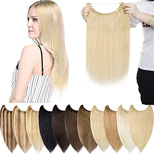 Extensiones de Cabello Natural Hilo Invisible Sin Clip Una pieza Ajustable Hair extension Pelo Humano Nano ring Largo Liso 45cm, 65g, 24 Rubio Natural