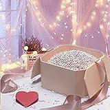 Hbsite Geschenkbox Luxus Groß, Überraschungsgeschenkbox Wiederverwendbare dekorative Box mit Füllung (bunte Schaumperlen) für Hochzeit, Geburtstag, Weihnachten und mehr 21 * 21 * 12cm