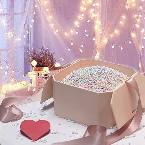 Hbsite Geschenkbox Groß, Überraschungsgeschenkbox Wiederverwendbare dekorative Box mit Füllung (bunte Schaumperlen) für Hochzeit, Geburtstag, Weihnachten und mehr 21 * 21 * 12cm
