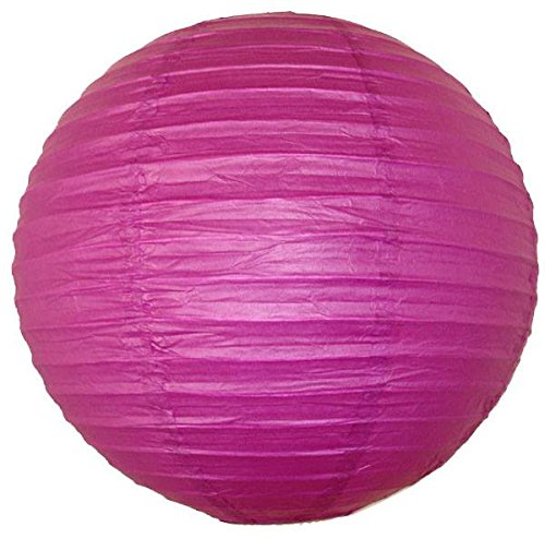 "Perfectmaze 6 Piece Round Chinese Paper Lantern for Wedding Party Engagement Decoration 10 Sizes / Colors+ (18"" (Inch), Fuchsia)"