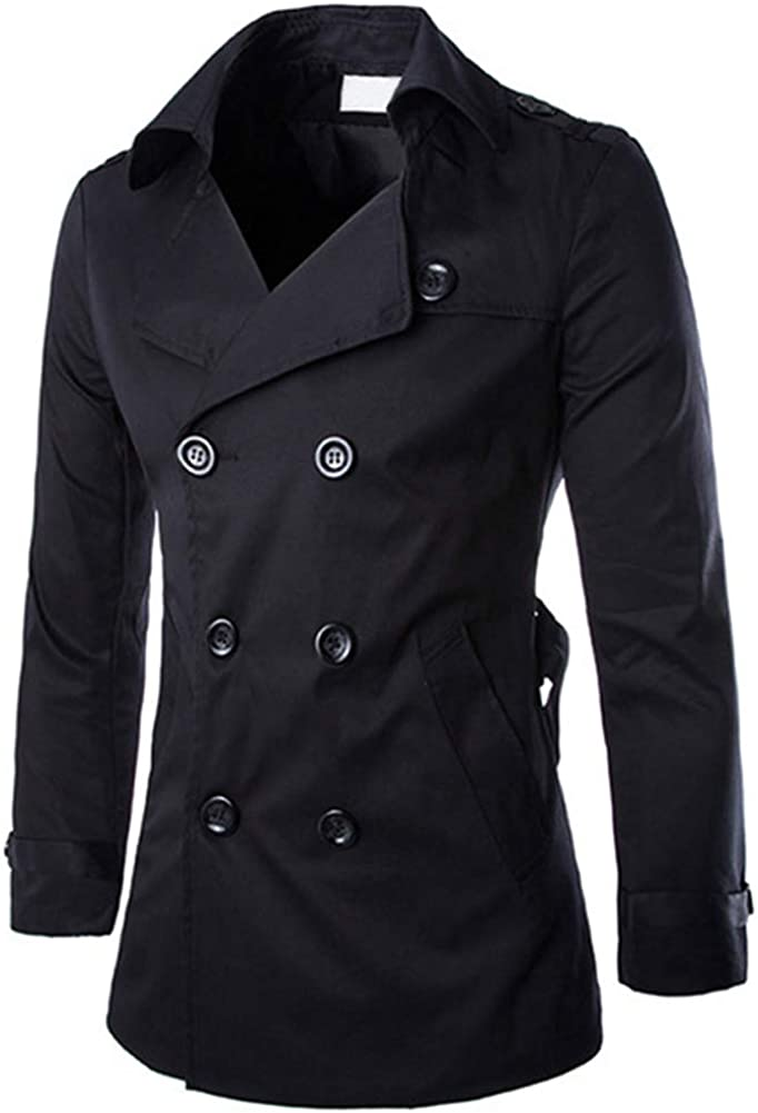 AOWOFS Men's Double Breasted Trenchcoat Notch Lapel Stylish Belted Windbreaker Slim Fit Short Coat(Whith Large))