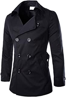 Men's Double Breasted Trenchcoat Notch Lapel Stylish Belted Windbreaker Slim Fit Short Coat