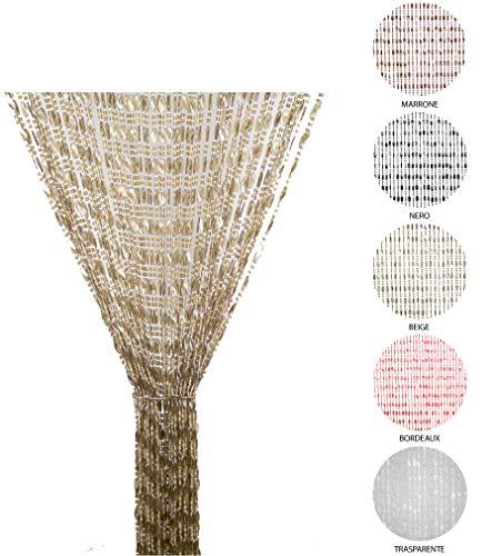 Tata Home Tenda Antimosche a Perline per Porta Finestra Moschiera a Pannello Misura 120 x 220 cm. Colore Beige