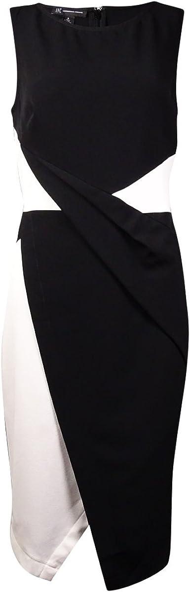 INC White Colorblock Women's Faux Wrap Sheath Dress Black 10