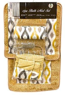 B BODY THERAPY Bathroom Bath Mat Set 18 Piece - Bathroom Decor - Bathroom Set - 1x Bath Mat, 1x Contour Mat, 1x Shower Curtain, 12x Hooks, 3X Towel Set (Yellow)