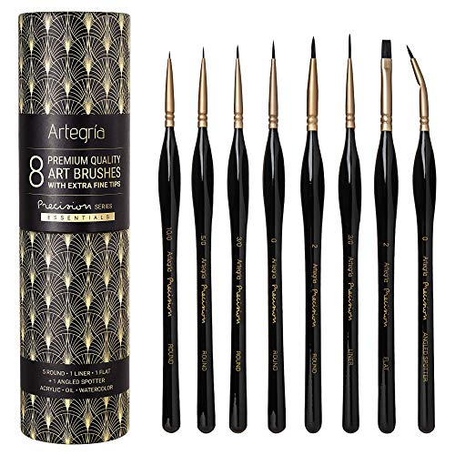 ARTEGRIA Detail Paint Brush Set - 8 Miniature Paint Brushes with Extra Fine Tips, Ergonomic Handle, Angled Spotter for Small Scale Model Art and Paint by Numbers for Adults - Acrylic Watercolor Oil