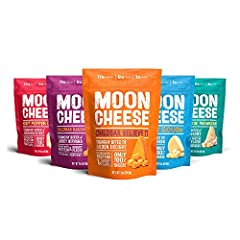 NUTRITIOUS - 100% natural, cheese snacks that are high in bone-building calcium LOW CARB KETO FOOD - Moon Cheese is packed with at least 10g of protein punch; only 2g carbs CRUNCHY AND DELICIOUS - Variety pack with 5 flavors that deliver a mouthwater...