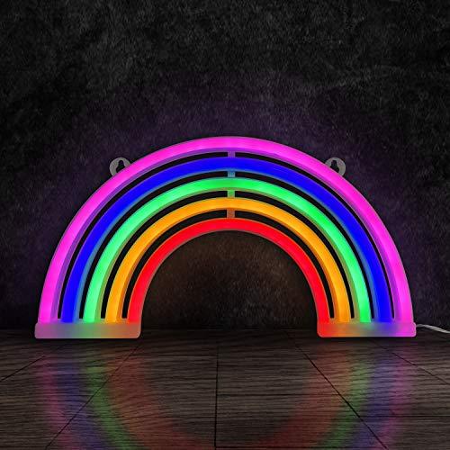Letreros de Neón, Luz de Arco Iris Decoración con Forma de Letrero de Neón LED, Alimentado por batería o USB Luces de Neón, Luces de Arco Iris para La Fiesta Casera, Decoración Del Dormitorio