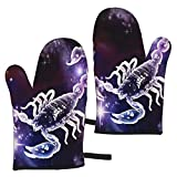 hgdfhfgd Scorpio Zodiac Oven Mitts Heat Resistant Microwave Gloves Kitchen Non...
