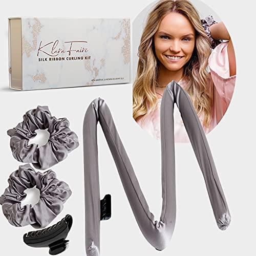 Heatless Hair Curlers no heat Silk Scrunchies -100% Silk Heatless Curling Rod Headband with 2 Silk Hair Ties and 1 Hair Clip | Authentic Grade 6A 22MM Mulberry Silk(Black Silver)