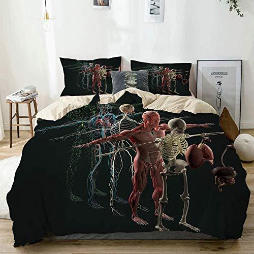 Funda nórdica beige, anatomía humana, vista despiezada, deconstruidos, músculos óseos separados, órganos nerviosos, juego de cama de microfibra impresa de calidad de 3 piezas, diseño moderno con suavi