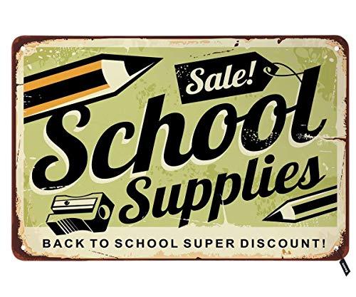 IUBBKI Cartel de lata con lápices y accesorios escolares de metal vintage de 30 x 20 cm