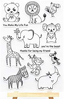WooYangFun Craft 1pcs Giraffe Zebra Lion Elephant Animals Clear Stamp for Card Making Decoration and Scrapbooking 11x15cm