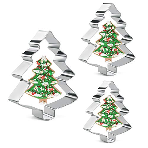 Orapink 3 Pieces Christmas Tree Cookie Cutters Stainless Steel Xmas Cookie Cutter Set for Baking