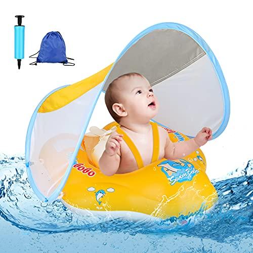 Flotador flotador para bebé con toldo extraíble,...