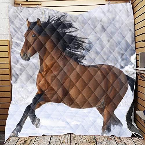 Chickwin Tagesdecke für Einzelbett Mädchen Teenager Tagesdecke Steppdecke Sofaüberwurf Wattiert und Gesteppt Bettüberwurf Kuscheldecke Decke Überwurf Überdecke (Braunes Pferd,150x200cm)