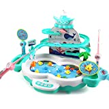 CUTE STONE Fishing Game Toys with Slideway,Electronic Toy Fishing Set with Magnetic Pond,10 Fish,3...