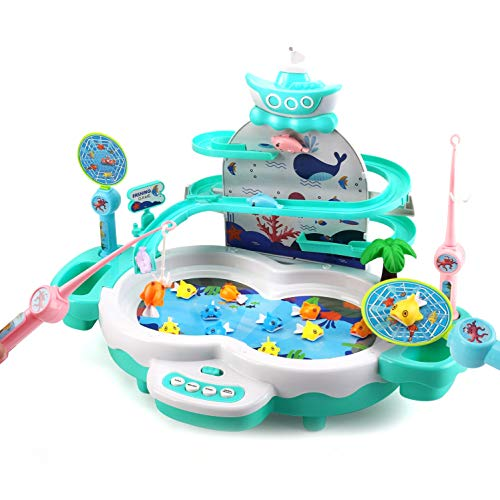CUTE STONE Fishing Game Toys with Slideway,Electronic Toy Fishing Set with Magnetic Pond,10 Fish,3 Magnetic Dolphins,2 Toy Fishing Poles,Learning Educational Toys with Music Story for Kids Toddlers
