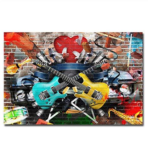 FAWFAW Puzzles 1000 Piezas, Música Rock, Graffiti Callejero Brain Challenge Kids Toy Games