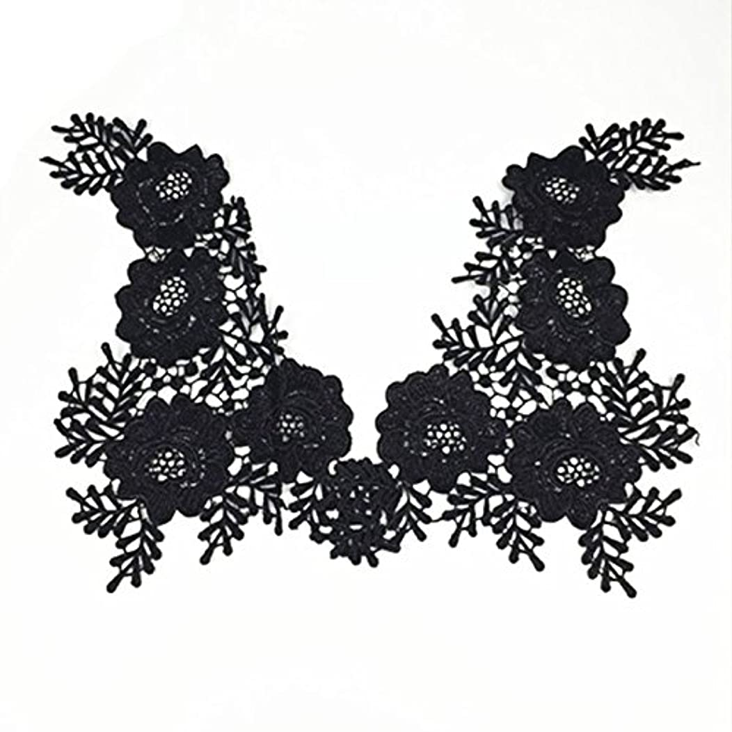 1 Pair Beautiful Black Flower Embroidery Patch Neckline Lace Applique Trims Collars Sewing DIY Crafts (Style B)