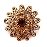 Vintage Gold Color Plated Crystal Rhinestones Flower Antique Brooch Pins for Women