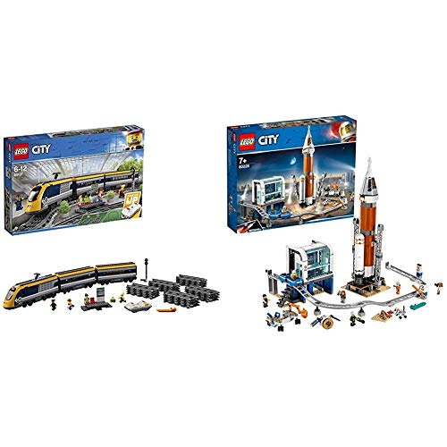 LEGO 60197 City Trains Passenger Train Set, Battery Powered Engine & 60228 City Deep Space Rocket and Launch Control Mars Expedition Set, Space Toys for Kids inspired by NASA