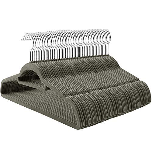 SONGMICS Kleiderbügel Samt, 100 Stück, Bügel-Set mit rutschfester Oberfläche, platzsparender Anzugbügel, mit um 360° drehbarem Metallhaken, grau CRF100V