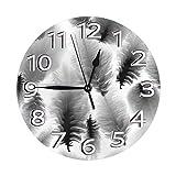 Mailine Reloj de Pared Redondo con Plumas Blancas y Negras, pájaro, Vintage, PVC, Reloj silencioso, sin tictac, Reloj Decorativo Circular de Pared
