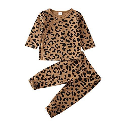 Newborn Baby Boy Girl Leopard Outfits Infant Side Snap Shirt Top Pants 2Pcs Pajamas Set 0-18M (Leopard Top Pants, 12-18 Months)