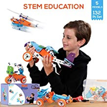 STEM Learning Toys For 7-11 Year Olds Boys & Girls. Building Toy Set, Construction Early Learning 132 Pc Kit Set, Fun and Creative Educational Models (5in1), Includes Toolbox Storage. Best Toy Gifts.