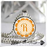 Collar con colgante de mosaico de cristal con diseño de flor de naranja personalizado, un bonito regalo.