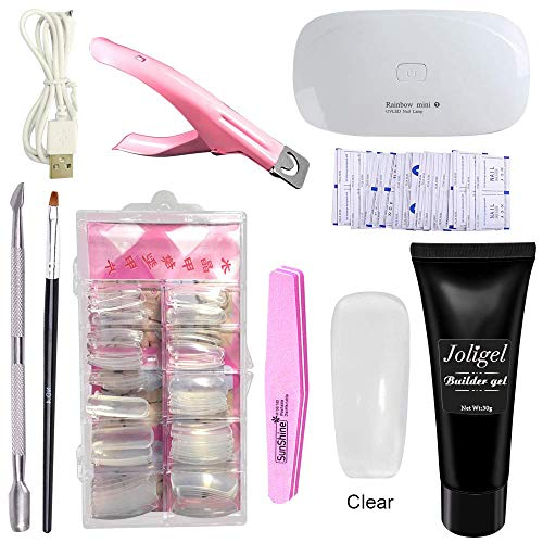 Joligel Polygel Nail Starter Kit With UV/LED Lamp, Builder Gel + Nail Extension Forms Tips + 3-Way False Nail Tip Clipper + Cuticle Pusher + Brush + File Buffer + Remover Wraps (Clear Transparent)