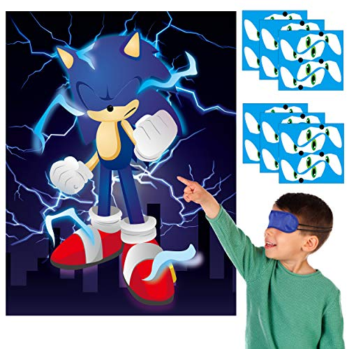 Sonic Poster Stickers Game Themed Pin The Tail Party Supplies Pin The Eyes on The Poster Birthday Collection Party Favor Halloween Party Game Background Accessories for Kids (Includes 2 Blindfolds)