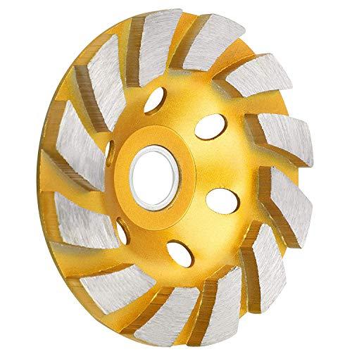 "SUNJOYCO 4"" Concrete Grinding Wheel, 12-Segment Heavy Duty Turbo Row Diamond Cup Grinding Wheel Angle Grinder Disc for Granite Stone Marble Masonry Concrete"