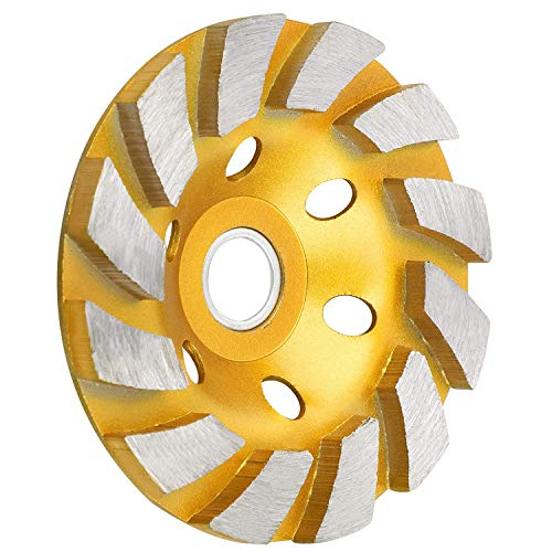 SUNJOYCO 4' Diamond Cup Grinding Wheel, 12-Segment Heavy Duty Turbo Row Concrete Grinding Wheel Angle Grinder Disc for Granite Stone Marble Masonry Concrete