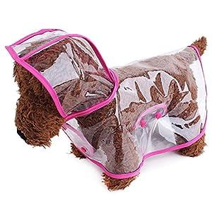 BBEART Pet Raincoat,Small Dog Waterproof Puppy Raincoat Coat Transparent Pet Dog Rainwear Clothes for Small Dogs/Cats(M, Pink)