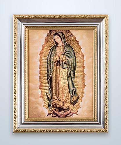 Marcos de Fe Cuadro Virgen de Guadalupe Imagen Virgen Fiel Moldura Color Oro/Plata Brillante – 30×40 cm…