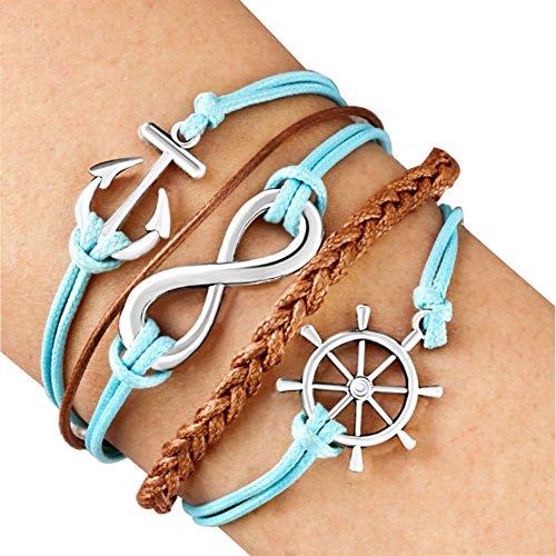 LovelyJewelry Rueda Anchor Infinity Pulsera Cuerda de Cuero Trenzado Pulsera puños para