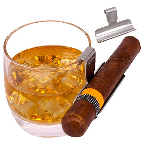 TOIKA Elegant Whiskey Glass with Attached Stainless Steel Cigar Holder Rest,Great Gift for Men/Cigar Lovers