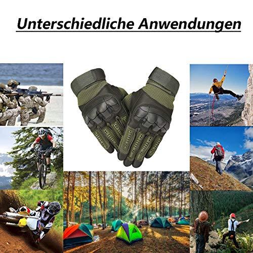 Neusky Herren Taktische Handschuhe Touchscreen Fahrrad Handschuhe Motorradhandschuhe MTB Handschuhe Mountainbike Handschuhe Outdoor Sport Handschuhe Ideal für Airsoft, Militär, Paintball (S, Grün) - 6