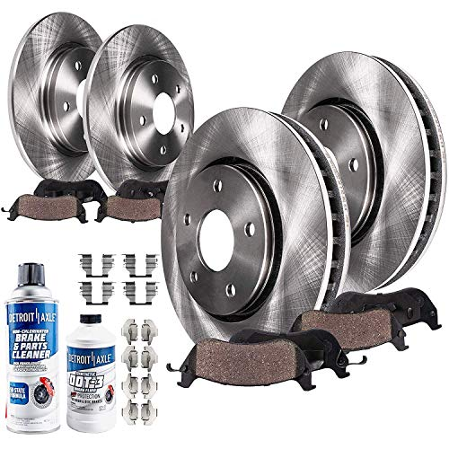 Detroit Axle - Front And Rear Disc Brake Rotors + Ceramic Brake Pads w/Hardware Brake Cleaner Fluid Replacement for Lexus RX350 RX450h Toyota Highlander Sienna - 10pc Set