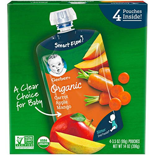 Gerber Purees Organic 2nd Foods Baby Food, Carrot Apple Mango, 14 Oz 4...