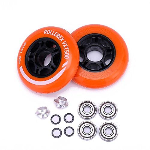 Rollerex VXT500 Inline Skate Wheels (2-Pack w/Bearings, spacers and...
