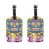 Juego de 2 etiquetas de equipaje de colores con calaveras para maleta