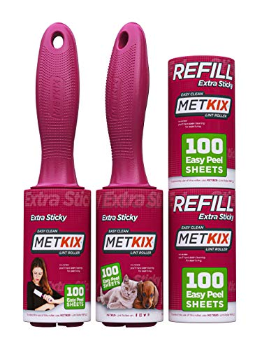 Metkix Lint Rollers for Pet Hair Remover, Extra Sticky, Value Set 400 Sheets, Pet Lint Brush Fur Lint Remover, Cat Dog Hair Remover for Furniture and Clothes
